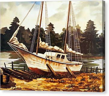 Water Scene Canvas Print - Old Sailboat In Drydock by Raymond Edmonds