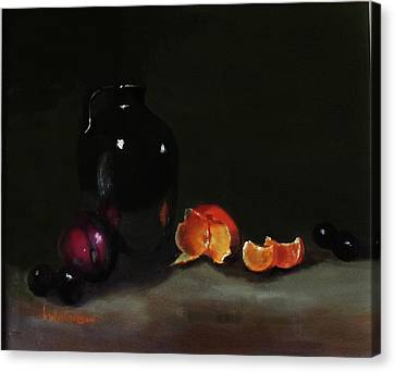 Canvas Print featuring the painting Old Sake Jug And Fruit by Barry Williamson