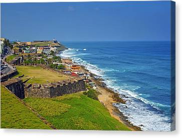 Old San Juan Coastline Canvas Print by Stephen Anderson