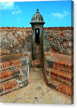 Puerto Rico Canvas Print - Old San Juan Gaurd Post by Perry Webster