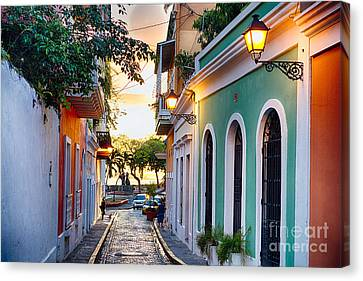 Puerto Rico Canvas Print - Old San Juan Sunset Glow by George Oze