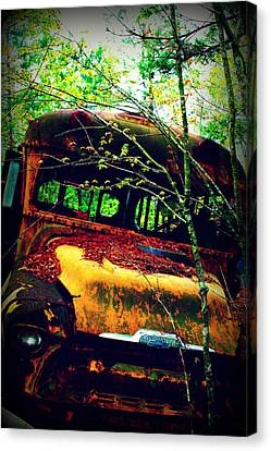 Old School Bus Canvas Print by Dana  Oliver