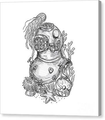 Old School Diving Helmet Tattoo Canvas Print by Aloysius Patrimonio