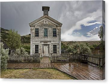 Old School House After Storm - Bannack Montana Canvas Print by Daniel Hagerman
