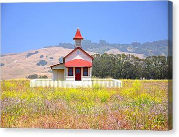 Old School House In A Field Canvas Print by C Thomas Cooney