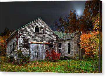 Old School House In Autumn Canvas Print by Julie Dant