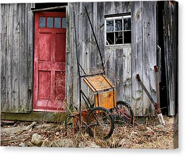Old Shed Red Door And Pony Cart Canvas Print
