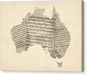 Old Sheet Music Map Of Australia Map Canvas Print by Michael Tompsett