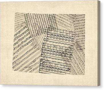 Old Map Canvas Print - Old Sheet Music Map Of Colorado by Michael Tompsett