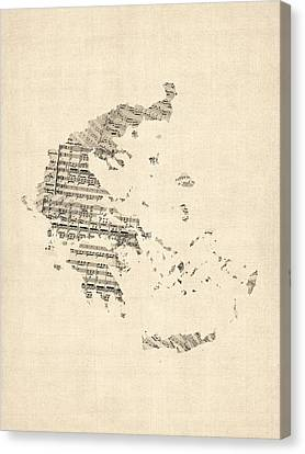 Old Sheet Music Map Of Greece Map Canvas Print by Michael Tompsett