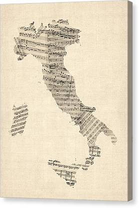 Old Sheet Music Map Of Italy Map Canvas Print by Michael Tompsett