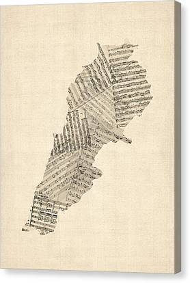 Old Map Canvas Print - Old Sheet Music Map Of Lebanon by Michael Tompsett