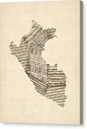 Old Sheet Music Map Of Peru Map Canvas Print by Michael Tompsett
