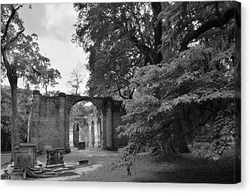 Churches Canvas Print - Old Sheldon Church Ruins Black And White 4 by Lisa Wooten