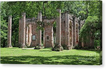 Civil War Site Canvas Print - Old Sheldon Church Ruins In Sunlight by Carol Groenen