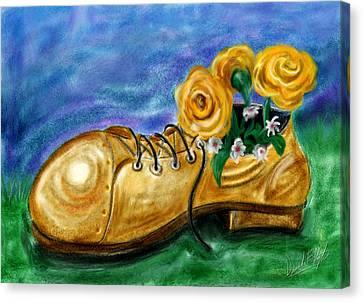 Old Shoe Planter Canvas Print by David Kyte