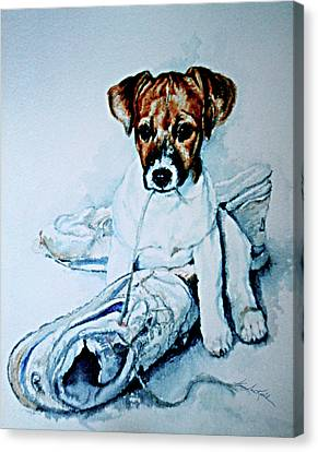 Old Shoe Pup Canvas Print by Hanne Lore Koehler
