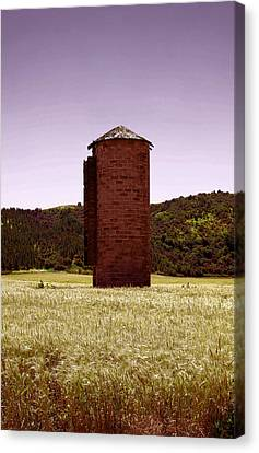 Old Silo In A Wheat Field Canvas Print by Jeff Swan