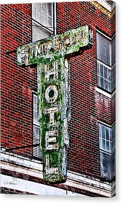 Old Simpson Hotel Sign Canvas Print by Christopher Holmes
