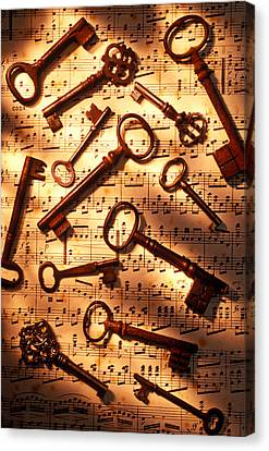 Old Skeleton Keys On Sheet Music Canvas Print by Garry Gay