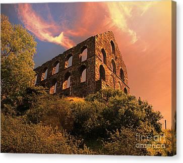 Chris Evans Canvas Print - Old Slate Mill In Cwmystradllyn  by Chris Evans