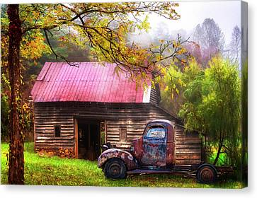 Canvas Print featuring the photograph Old Smoky Truck And Barn by Debra and Dave Vanderlaan