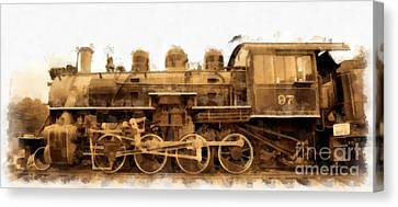 Old Steam Engine Locomotive Watercolor Canvas Print