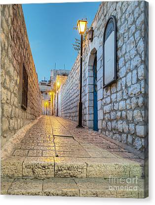 Old Stone Alleyway With Electric Lights Canvas Print
