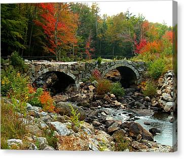 Old Stone Bridge In Fall Canvas Print by Lois Lepisto