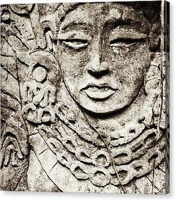 Old Stone Carving Of A Face Canvas Print