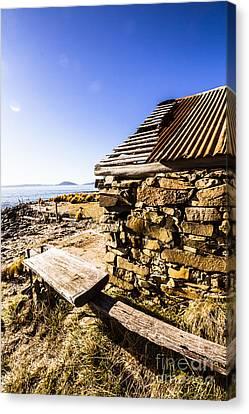 Fishing Shack Canvas Print - Old Stone Coastal Boat House by Jorgo Photography - Wall Art Gallery