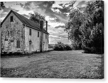 Old Stone House Black And White Canvas Print