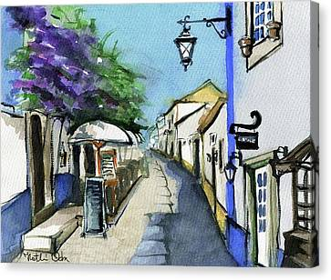 Canvas Print featuring the painting Old Street In Obidos, Portugal by Dora Hathazi Mendes