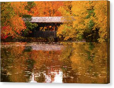 Canvas Print featuring the photograph Old Sturbridge Village Covered Bridge by Jeff Folger