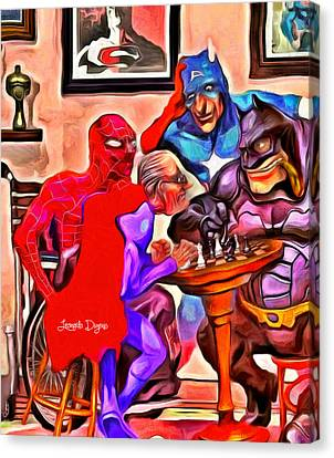 Old Super Heroes - Da Canvas Print by Leonardo Digenio