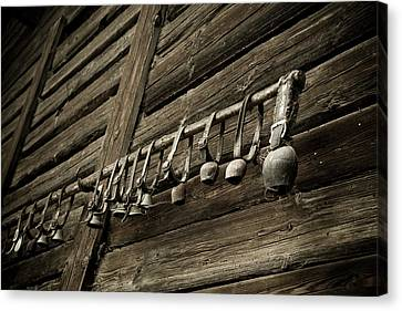 Old Swiss Cowbells Canvas Print by Frank Tschakert