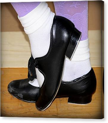 Old Tap Dance Shoes With White Socks And Wooden Floor Canvas Print by Pedro Cardona