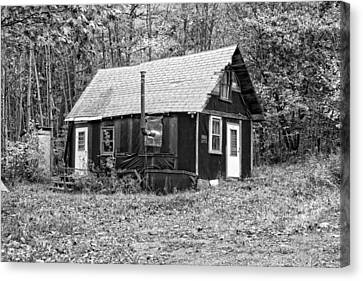 Old Tarpaper Shack Black And White Photo Canvas Print by Keith Webber Jr