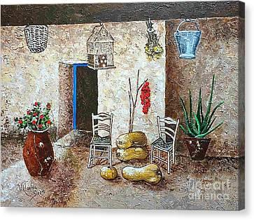 Old Tavern In Chios Greece Canvas Print by Viktoriya Sirris