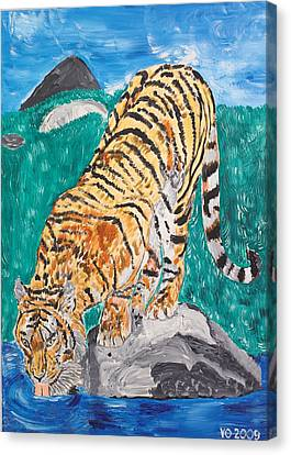 Old Tiger Drinking Canvas Print