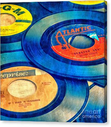 Old Time Rock And Roll 45s Vinyl Canvas Print