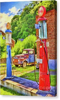 Canvas Print featuring the painting Old Time Vintage Gas Pumps Ap by Dan Carmichael