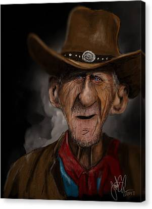 Caricature Cowboy Canvas Print - Old Timer by Jonathan Carr