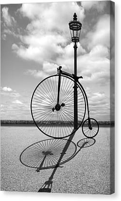 Old Times - Penny Farthing With Street Lamp And Shadows Canvas Print