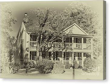 Old Timey Effect On Christopher Columbus Collier House Charlotte Historic Town Square Canvas Print