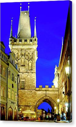 Canvas Print featuring the photograph Old Town Bridge Tower by Fabrizio Troiani