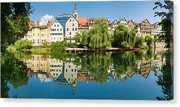 Old Town Buildings Reflecting In Neckar Canvas Print
