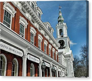 Old Town Hall And Unitarian Church Canvas Print by Bill Dussault