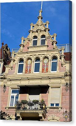 Old Town House Facade In Baden-baden Canvas Print by Elzbieta Fazel