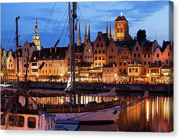 Old Town Of Gdansk At Twilight Canvas Print